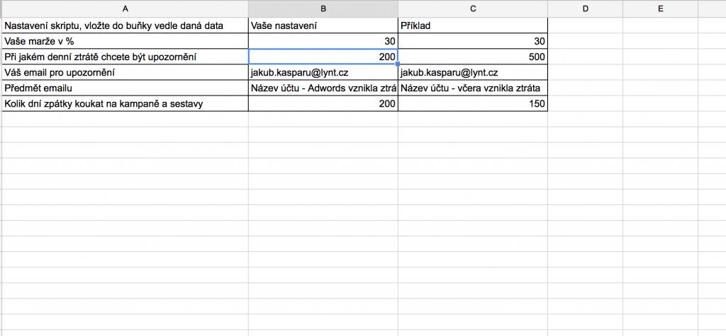 Nastavení Adwords skriptu na PNO
